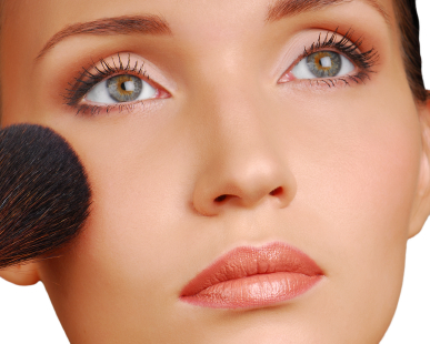 Cosmetic brush for applying the powder